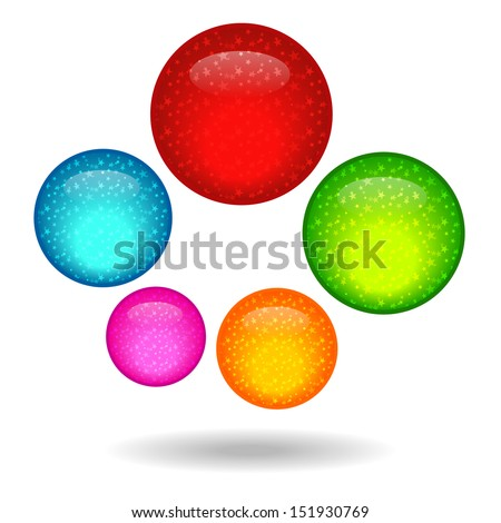 Five colored circle with a star inside. - stock vector