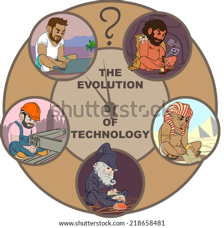 Five colorful cartoon characters illustrating science and technology evolution of the mankind. EPS8 vector set. - stock vector