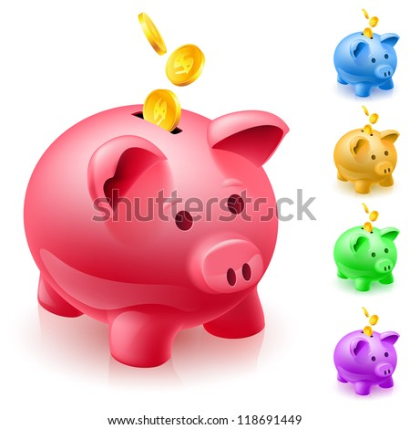 five colorful piggy banks of designer on white background