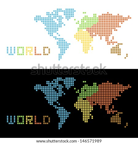 Five continents World Map , vector Illustration - stock vector