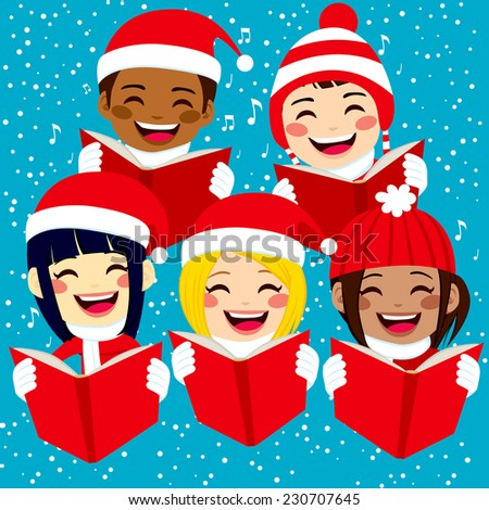 Five cute happy children singing Christmas carols with snowflakes and notes on background - stock vector