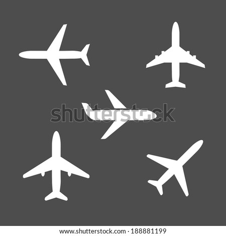 Five different airplane silhouette icons viewed from the side   on takeoff  from below and flying midair on a grey background conceptual of travel and vacations - stock vector