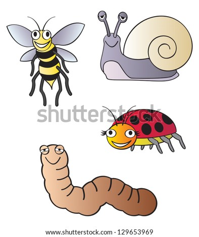 Five different fun cartoon bugs that are commonly found in the household garden.
