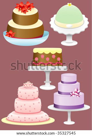 five different types of cakes - stock vector