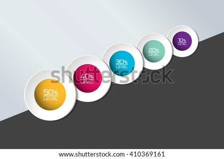 Five Element Connected Circle Banner Timeline Stock Vector