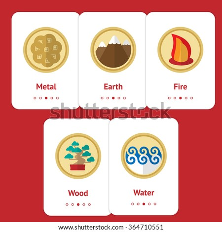 Five elements of feng shui in flat design: fire, water, wood, earth, metal. Web design banner, layout, cards. Chinese philosophy. Natural concept. Gong - stock vector