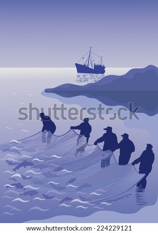 Five fishermen pull fishing nets with fish in the sea on the background of the island and the fishing vessel. - stock vector