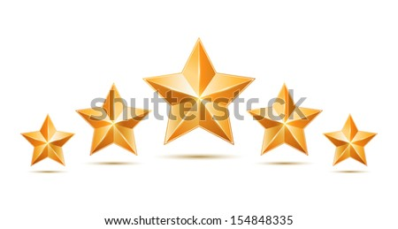 Five gold stars isolated on white background. Design elements. Vector illustration - stock vector