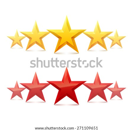 Five golden stars on white background. Best rating. Vector illustration. - stock vector