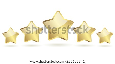 five golden stars with shadow in a row vector - stock vector