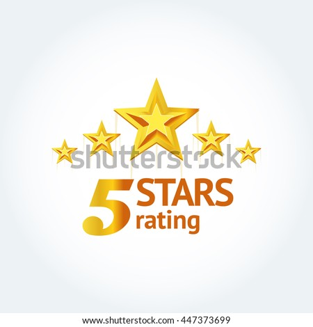 "Five Golden stars with text ""Five stars rating"" logo template. Isolated Vector illustration - stock vector"