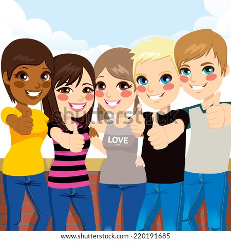 Five happy young teenagers standing and making thumbs up gesture in front of wall and sky background - stock vector