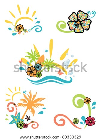 five illustrations on summer theme - stock vector