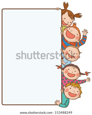 Five kids peeping behind placard.Back to School isolated objects on white background. Great illustration for a school books and more. VECTOR. Editorial. Education. Advertising. Board.  - stock vector
