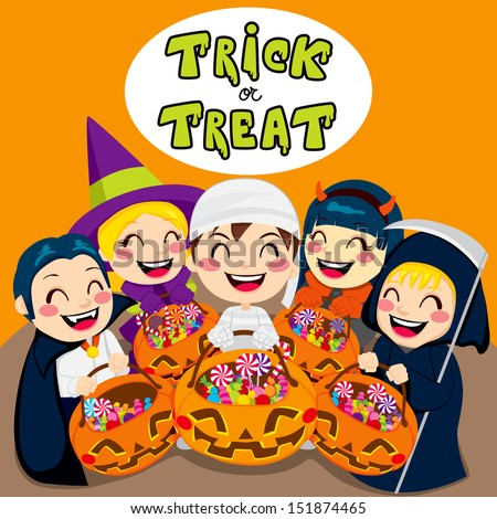 Five kids saying trick or treat with Halloween pumpkin bags full of sweets and candy - stock vector
