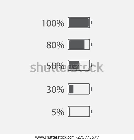 Five level energy in battery / cartoon vector and illustration. Icon discharged battery. Set of Battery charge showing stages of power running low and full, battery running low, battery recharging. - stock vector