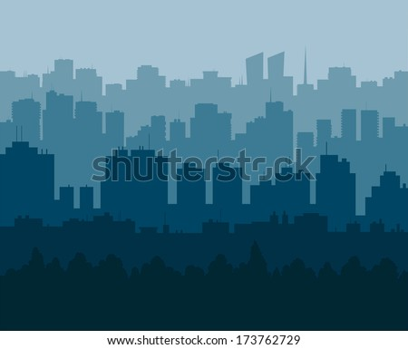 Five levels of silhouettes of the city in different shades of the blue - stock vector