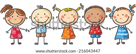 five little kids holding hands stock vector 216043447 shutterstock rh shutterstock com Holding Hands Black and White Holding Hands Silhouette