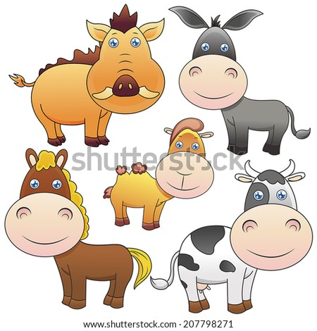 five lovely animals set on white background - stock vector