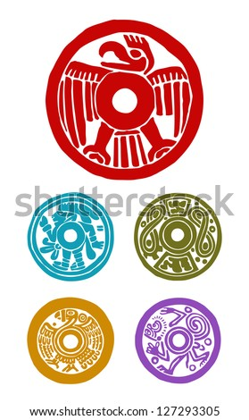 five mayan symbols, animals and human - stock vector