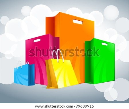 five multicolored packages - stock vector