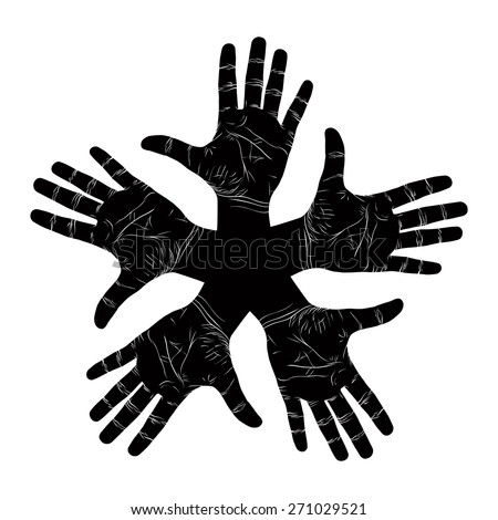 Five open hands abstract symbol, detailed black and white vector illustration, hand sign. - stock vector