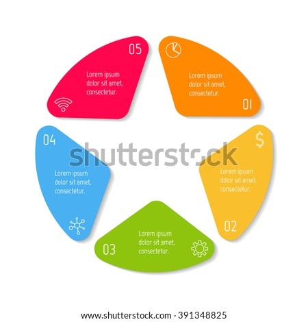 Five option infographic banner. Circular workflow layout with triangle parts. Number banner template for diagram, presentation or chart. Progress steps for tutorial. Business concept sequence banner. - stock vector