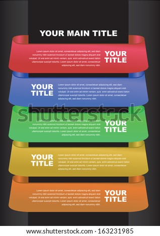 Five options banner. Vector illustration. Used for workflow layout.