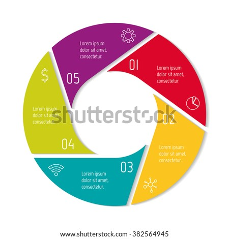 Five options isolated infographic banner. Circular workflow layout. Number banner template for diagram, presentation or chart. Round progress steps for tutorial. Business concept sequence banner. - stock vector