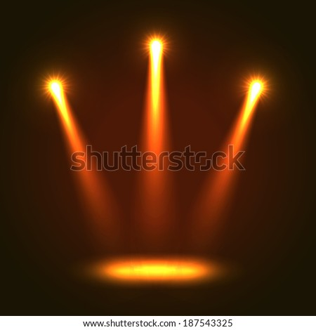 Five orange bright projectors for scene lighting decoration on black background. Vector special light effects - stock vector