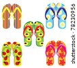 Five pairs of colorful flip flops. Illustration on white background - stock vector
