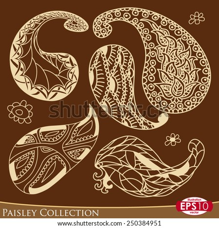Five paisley ornament elements in four color and some decorative flowers. - stock vector
