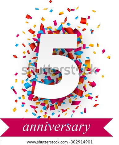 Five paper sign over confetti. Vector holiday anniversary illustration.  - stock vector