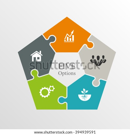 five piece flat puzzle round infographic stock vector 394939591