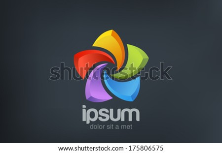 Five point Star abstract colorful vector logo design template. Social symbol. - stock vector