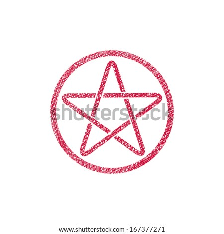 Five point star vector icon with hand drawn lines texture. - stock vector