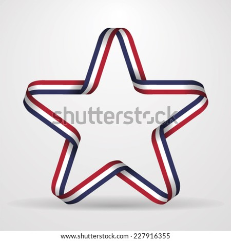 Five pointed star made from ribbon - stock vector