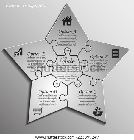 Five-pointed star puzzle presentation infographic template with explanatory text field for business statistics - stock vector