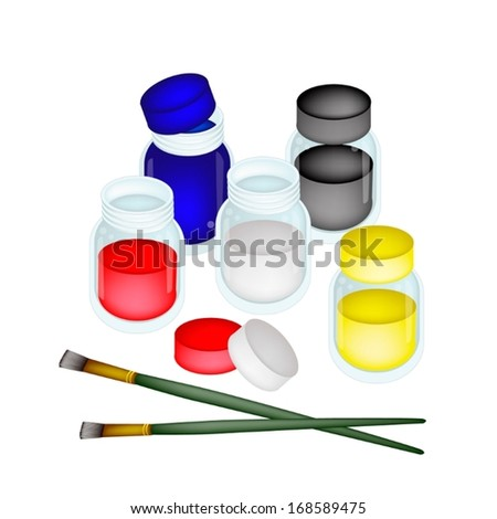 Five Poster Color Paint Jars With Craft Paintbrushes or Artist Brushes for Draw and Paint A Picture Isolated on White Background  - stock vector