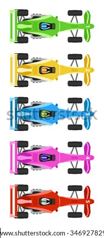 Five Race Cars with cool colors - stock vector