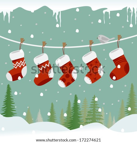 Five red Christmas socks on the rope with little bird. - stock vector