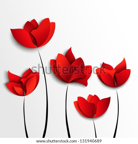 Five red paper flowers on white background - stock vector
