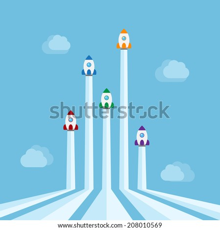 five rockets of different colors flying in the air with clouds on background, new start-up, business project, service or products concept - stock vector