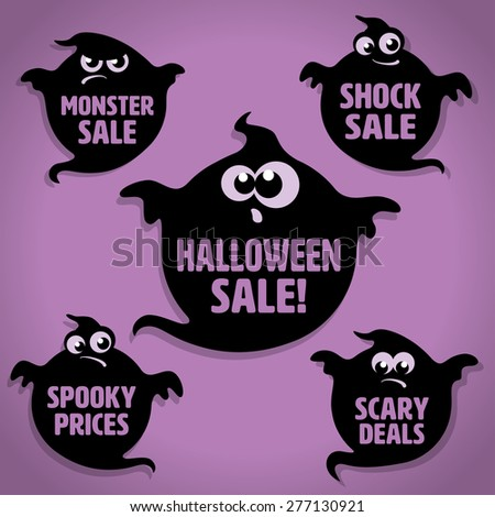 Five Scary Black Little Ghost Halloween Sale Icons on Purple background - stock vector