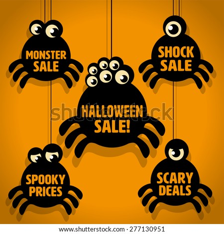 Five Scary Black Little Spider Halloween Sale Icons on Orange background - stock vector