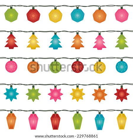 five sets of horizontally seamless christmas fairy lights, isolated on white - stock vector