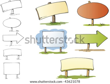 Five signposts with different shapes and copyspace in them. They are inked with black dynamic outlines and colored in soft colours. - stock vector