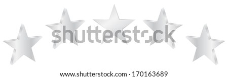 Five Silver Stars Product Quality - stock vector