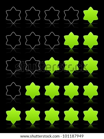 Five six-pointed stars ratings web 2.0 button. Green shapes with shadow and reflection on black, vector, 10eps.