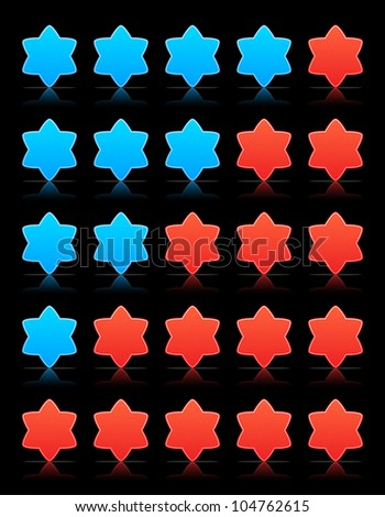 Five six-pointed stars ratings web button. Red and blue shapes with shadow and reflection on black, 10eps.